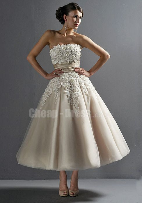 TULLE PRINCESS SLEEVELESS STRAPLESS ANKLE LENGTH WEDDING DRESS