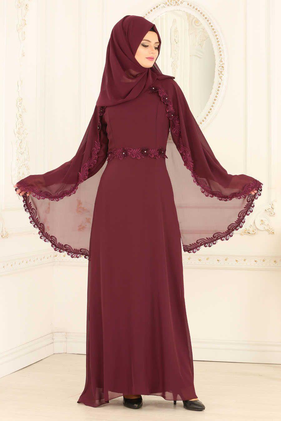 Neva style plum color hijab evening dress mu tenues
