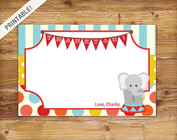 Custom Carnival Thank You Card Circus By ApplesAndElephants 500