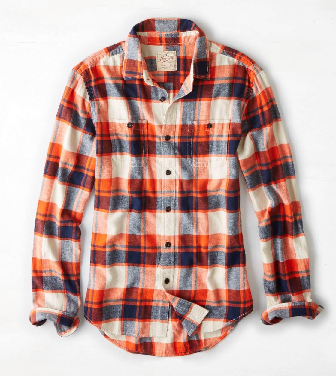 Orange flannel jacket  AEO Heritage Flannel  My Pinterest Closet  Pinterest  Aeo and