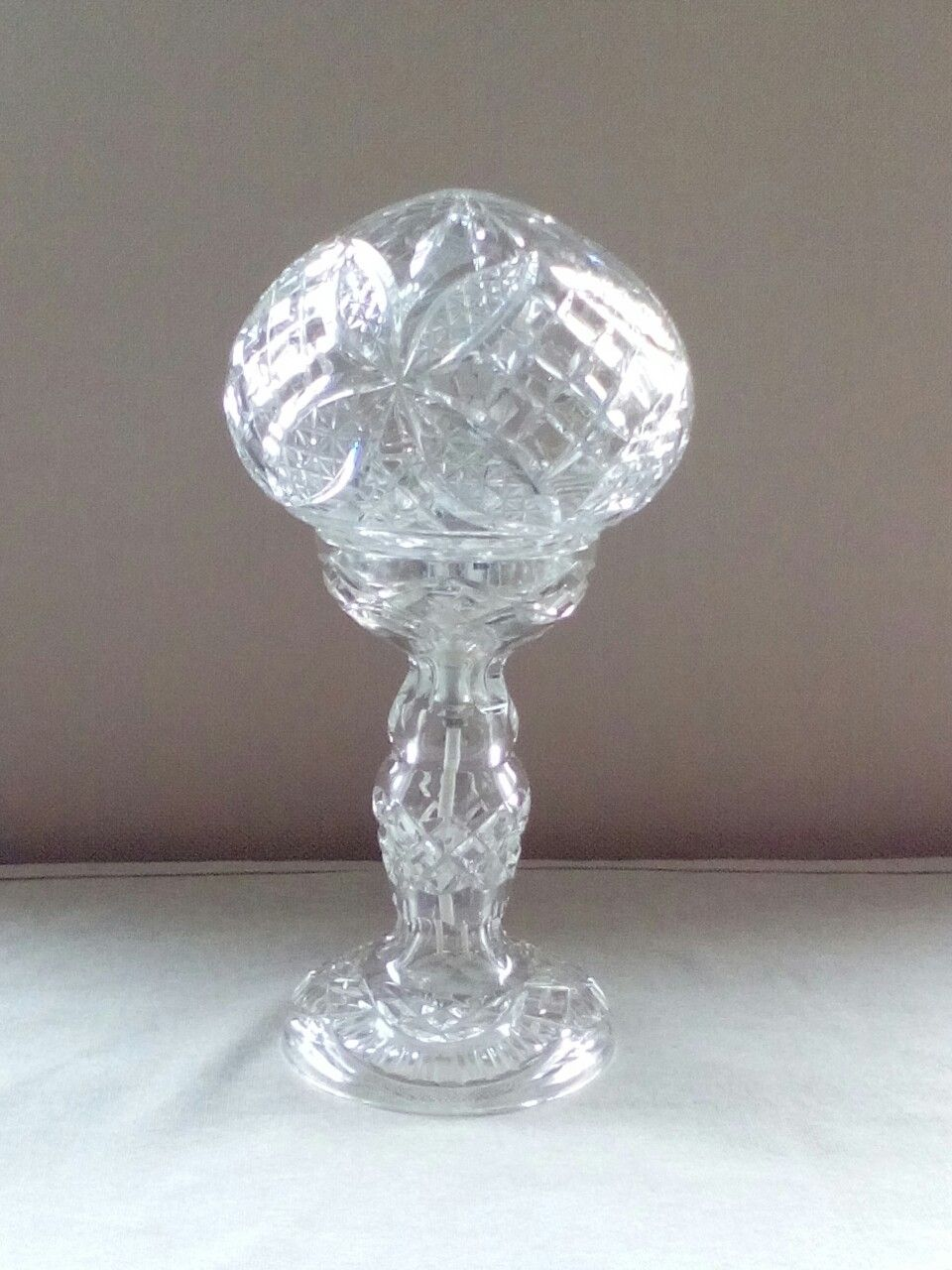 Victorian deeply cut glass table lamp with a mushroom shade by victorian deeply cut glass table lamp with a mushroom shade by mike bainbridge geotapseo Image collections