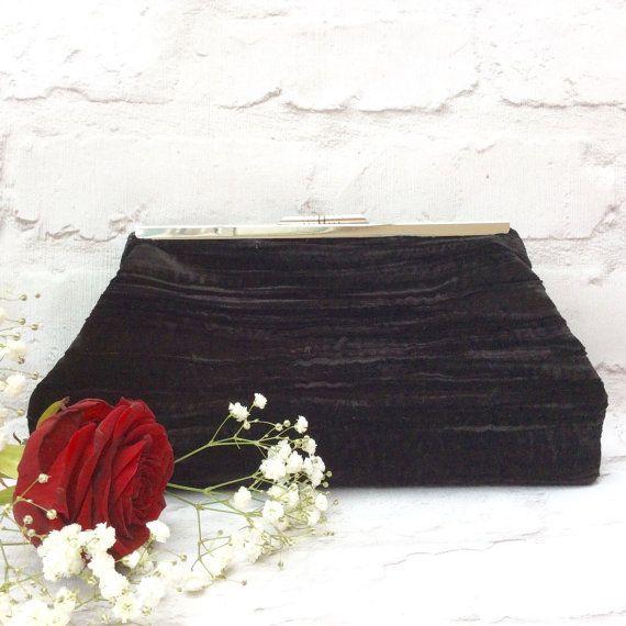 Clutch bag Evening bag Velvet evening bag Black by TotesByWendy