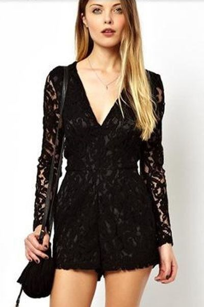 Black Alluring Deep V Neck Long Sleeve Lace Romper