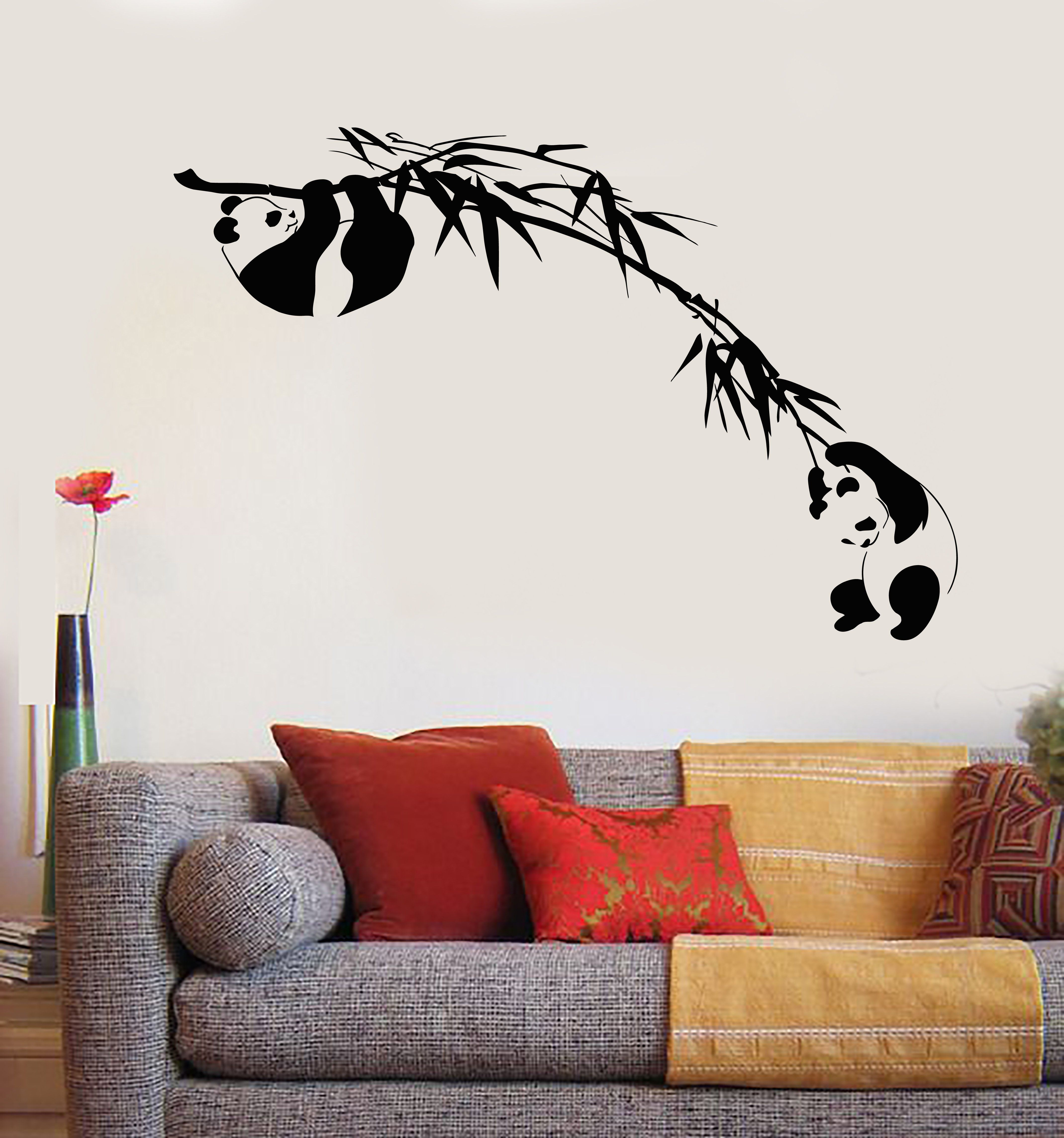 vinyl wall decal branch bamboo tree panda asian animal on wall stickers painting id=33230