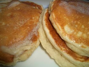 Banana Pancakes -  2 ripe bananas  1 1/2 C Bisquick  1 egg  1/2 C milk  1/2 tsp cinnamon  nutmeg  1/4 tsp vanilla    With a fork mash bananas leaving some lumps. Add in Bisquick and egg stir until just blended. Add in milk, cinnamon, vanilla & a pinch a nutmeg. Stir until blended there will be lumps from the banana.    Makes 12 pancakes.