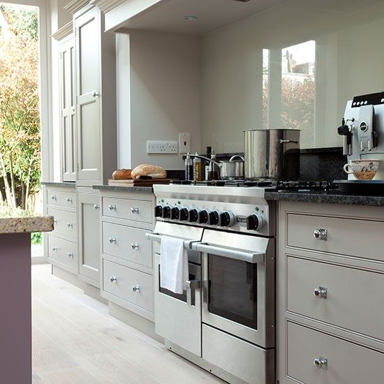 Pale Grey Kitchen With Fitted Storage Idea