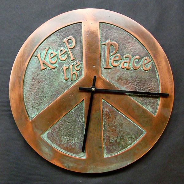 Copper Verdi Peace Symbol Clock