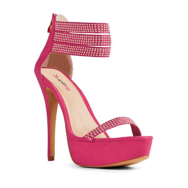 Justfab Heeled Sandals Mena ($30) ❤ liked on Polyvore featuring shoes, sandals, apparel & accessories, open toe, red, high heel platform sandals, red high heel sandals, red heel sandals, red sandals and red strappy sandals