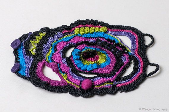 Boho handmade freestyle crochet cuff with black-purple-pink ...
