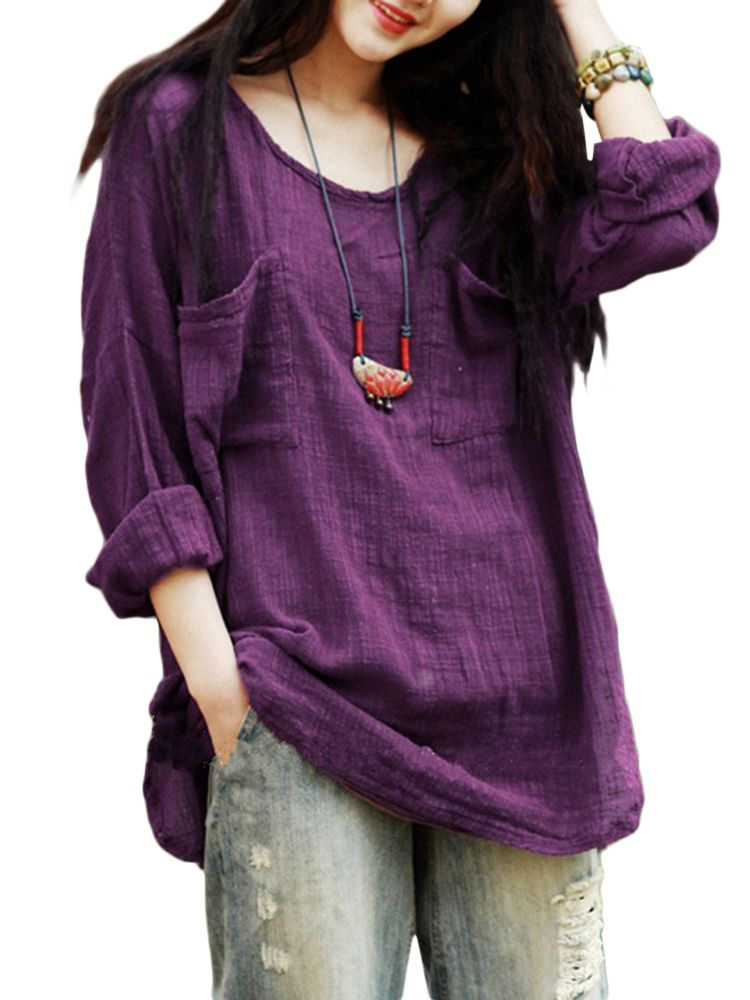 5c074ed1e4592f Gracila Vintage Women Pockets Pure Color Loose Long Sleeve Cotton Blouse