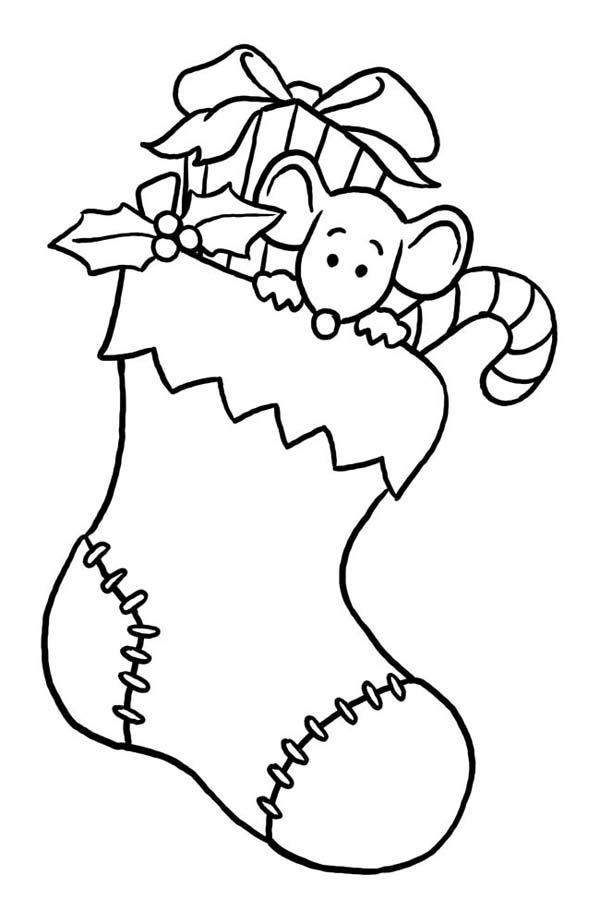 Christmas Little Mouse Hidding On Christmas Stocking Coloring Page