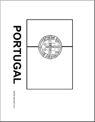 flag portugal blackline illustration of the portuguese
