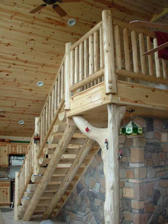 Log Home Stair Railing Google Search Rustic Stairs