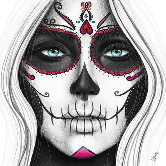 Day of the Dead art print from original pencil illustration. Pencil drawing of a woman's face. Day of the dead illustration of painted face. - #drawing #illustration #original #pencil #print #woman - #DrawingFaces
