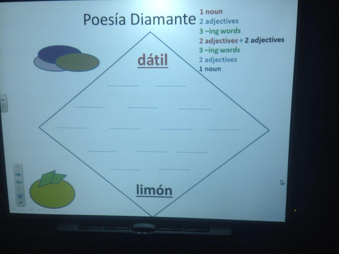 Spanish Diamante Poem Framework