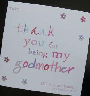 Personalised Handmade Thank You Godmother Card
