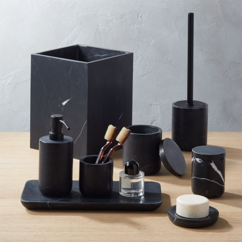 Photo of Nexus Large Black Marble Canister + Reviews | CB2