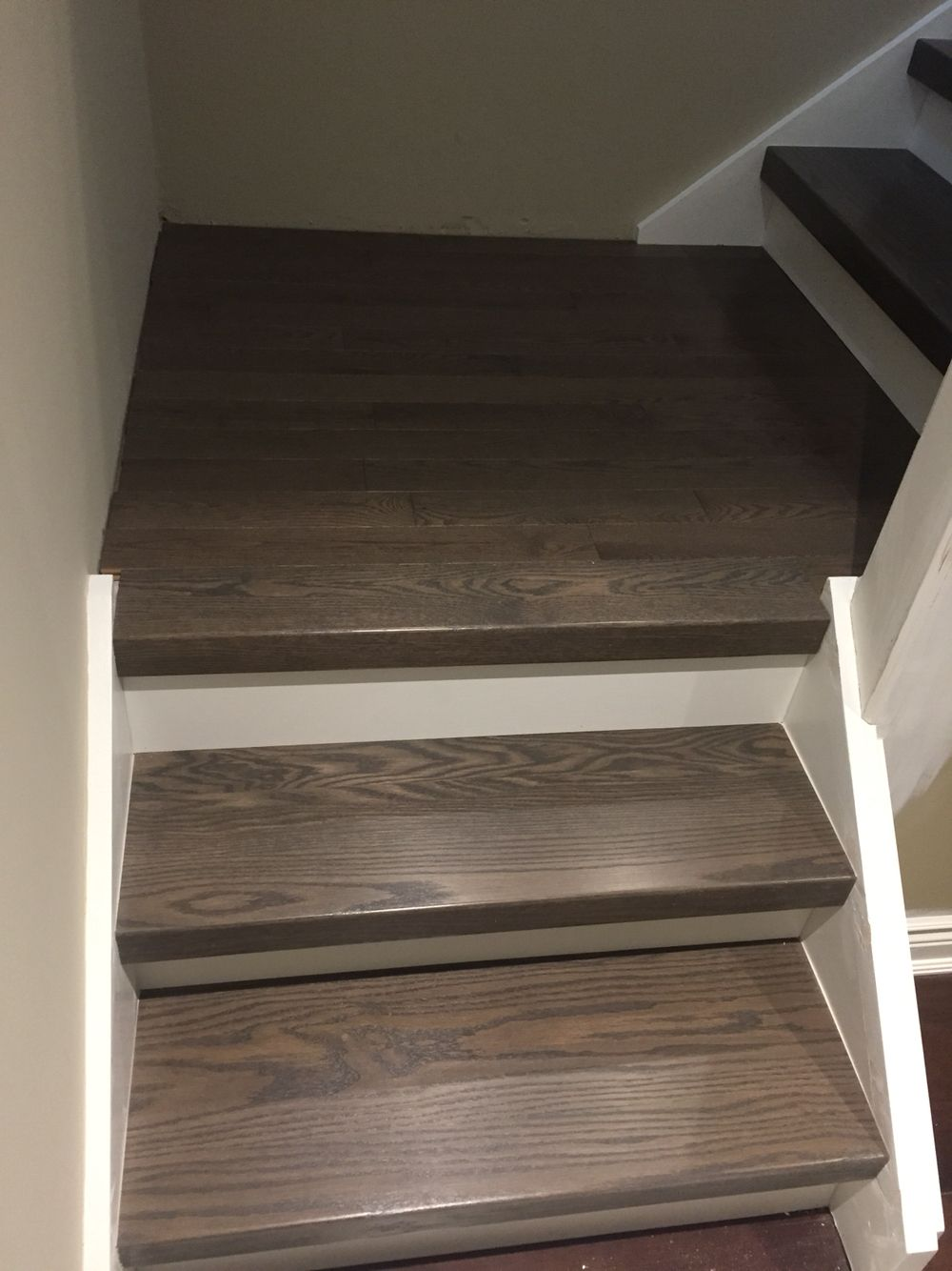 Best Grey Stair Treads Custom Stained To Match Flooring 400 x 300