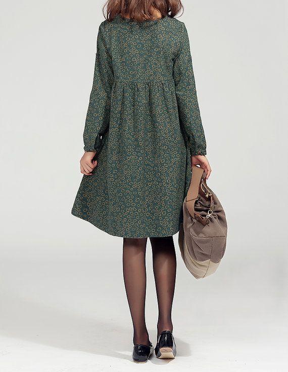 Cotton linen maxi dress in green, long sleeves dress, oversized dress, women Everyday loose robe