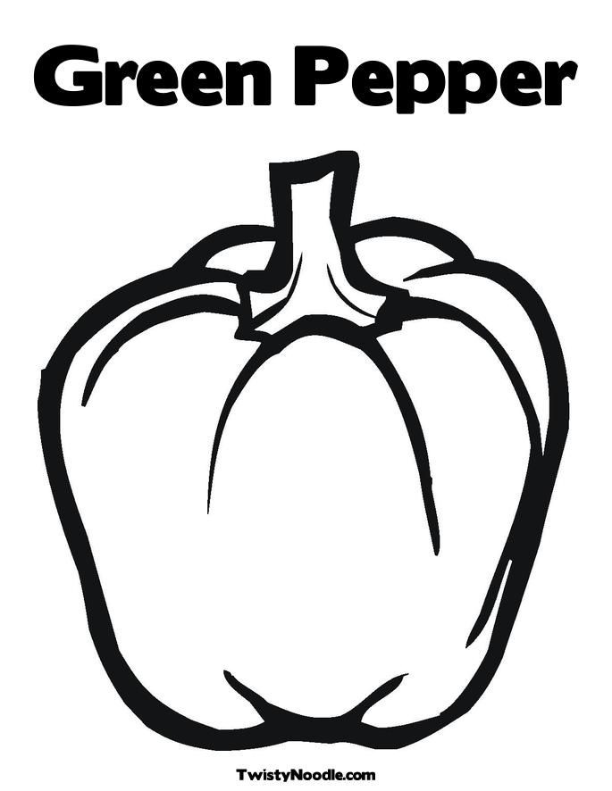 Green Pepper Coloring Page Stuffed Green Peppers Fruit Coloring