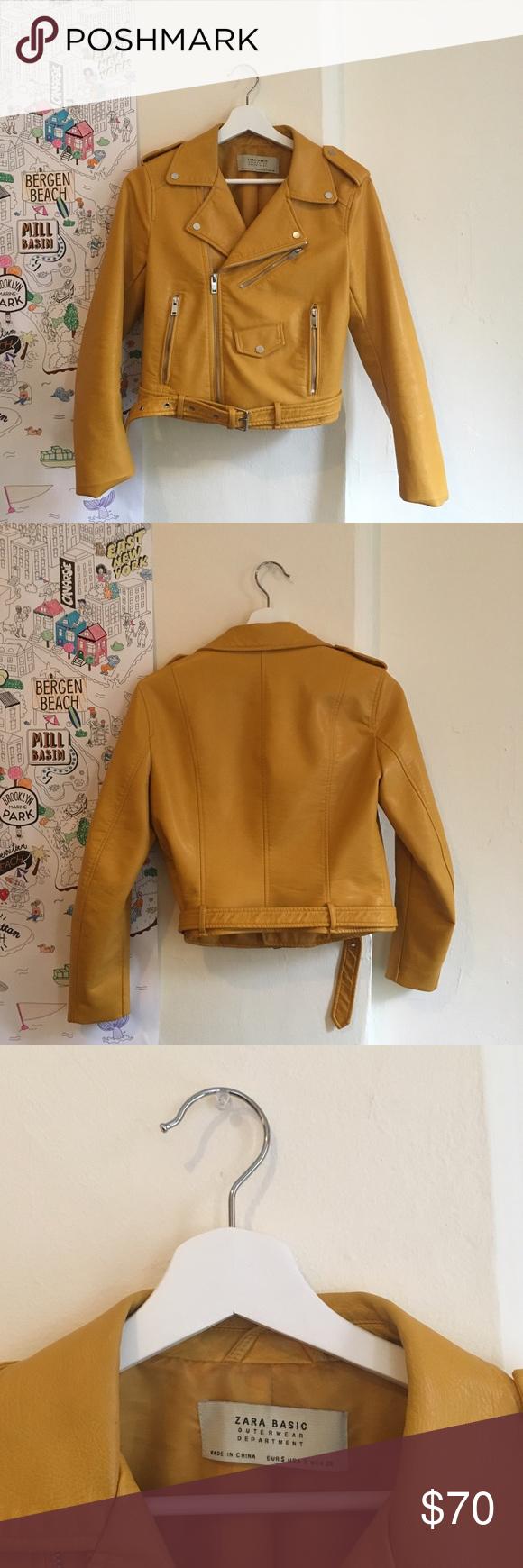 ZARA mustard faux yellow leather jacket size S Leather