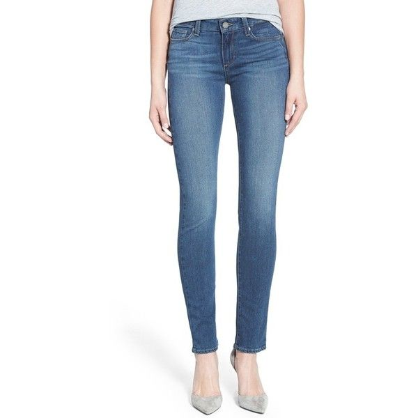 Paige Denim 'Transcend - Skyline' Skinny Jeans ($189) ❤ liked on Polyvore featuring jeans, kenley, paige denim, zipper jeans, blue skinny jeans, zipper skinny jeans i frayed jeans