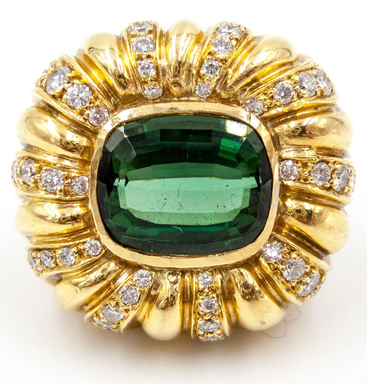 Elegant Tourmaline Diamond Gold Turban Style Cocktail Ring | From a unique collection of vintage dome rings at https://www.1stdibs.com/jewelry/rings/dome-rings/