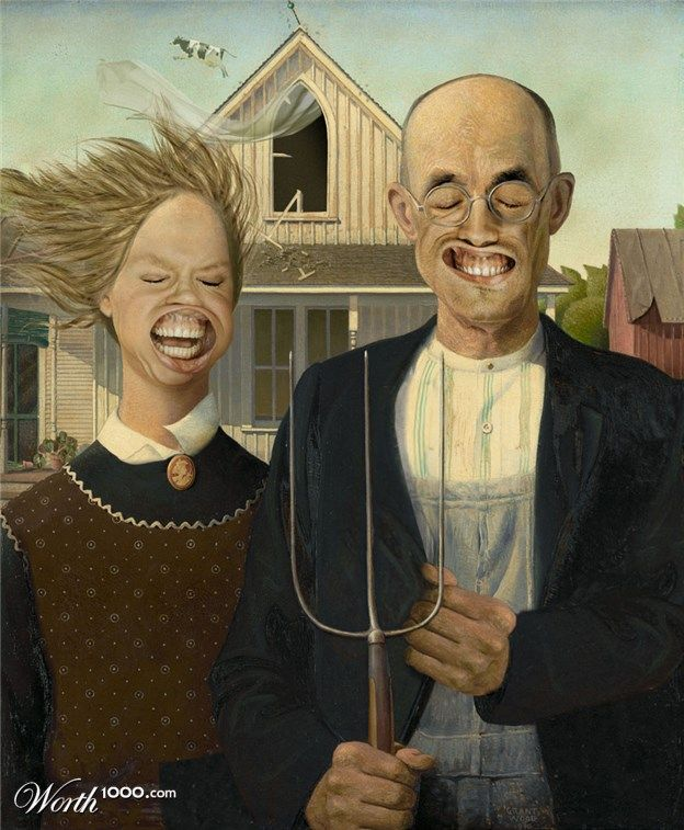 Pin By Dobbin004 On Animation Illustrations Art American Gothic Parody Grant Wood American Gothic American Gothic
