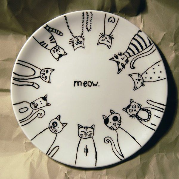 Cats Cool Pattern For Sharpies On A Plate Baked In Oven To Set