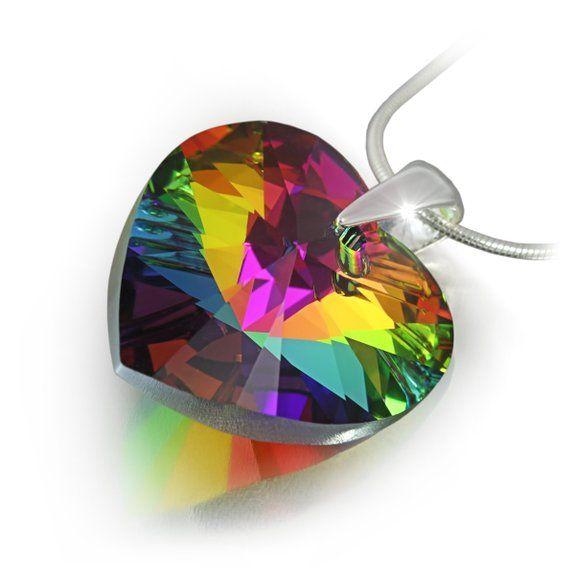 Catenina in argento con Elementi Swarovski® originali, ciondolo a cuore, multicolor, dimensioni: 18 mm, con custodia per gioielli, ideale come regalo per mogli o fidanzate
