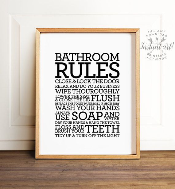 Superb Bathroom Rules Sign Printable Art Bathroom Decor Bathroom Interior Design Ideas Ghosoteloinfo