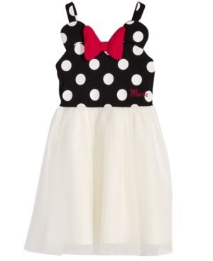 Girls Minnie Mouse Red Black Dress Yellow Bow Costume Cosplay Sundress 2T-7 NEW