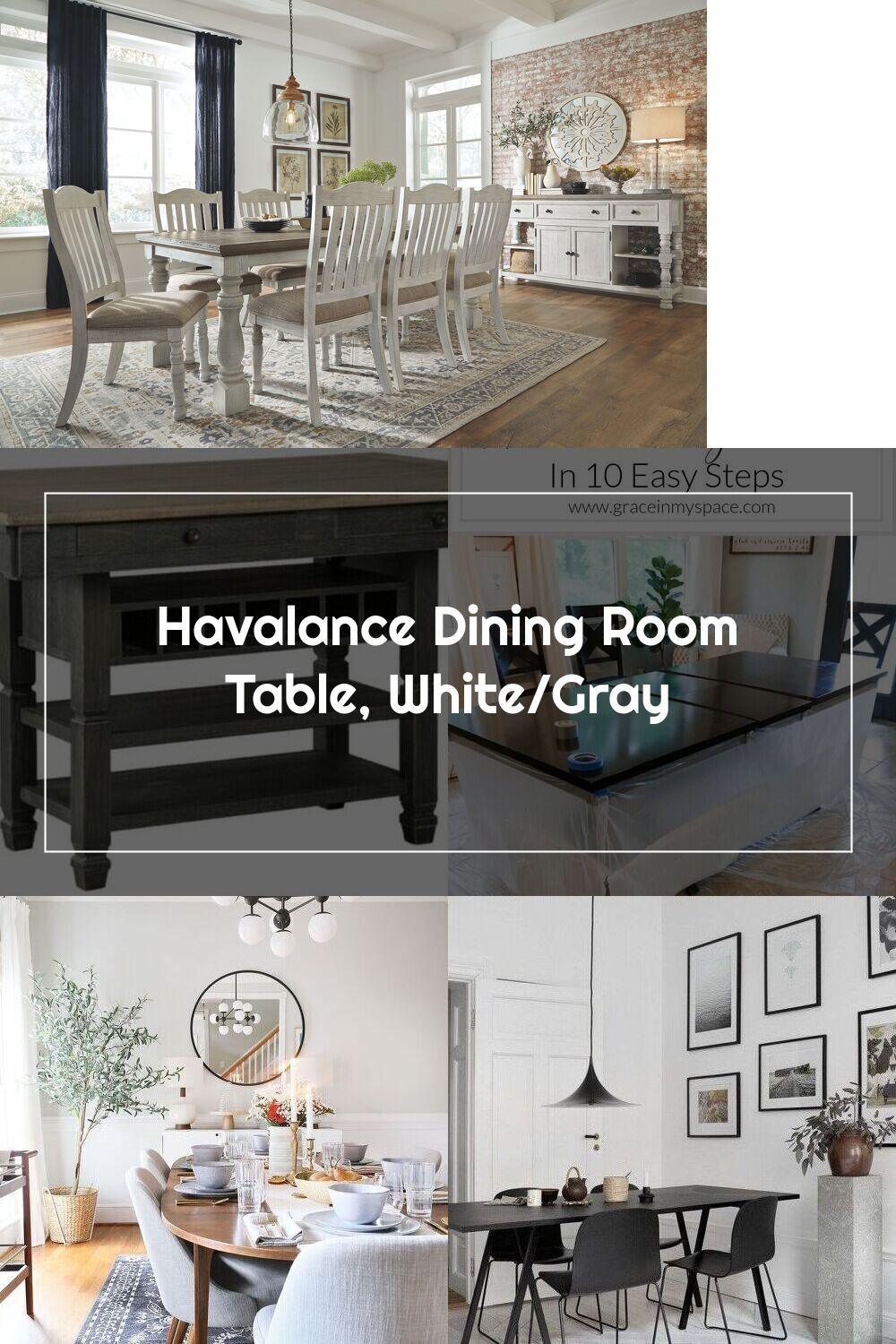 Havalance Dining Room Table White Gray In 2020 Dining Room