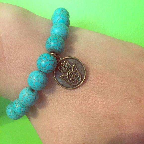 Hamsa Bracelet Turquoise beaded bracelet with hamsa charm Buddhaful Human Boutique Jewelry Bracelets