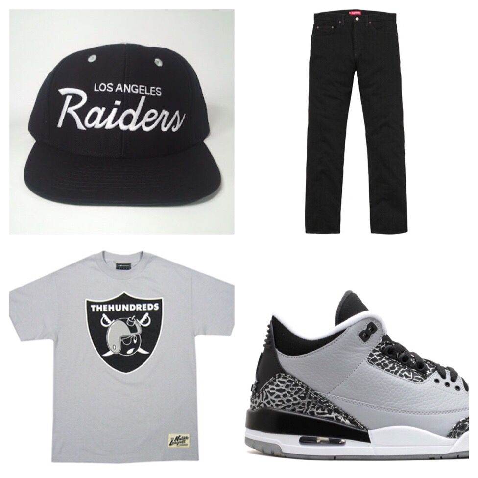 bc9dd99d237 Vintage Los Angeles Raiders SnapBack The Hundreds X TRUE t shirt Supreme  black jeans Jordan 3