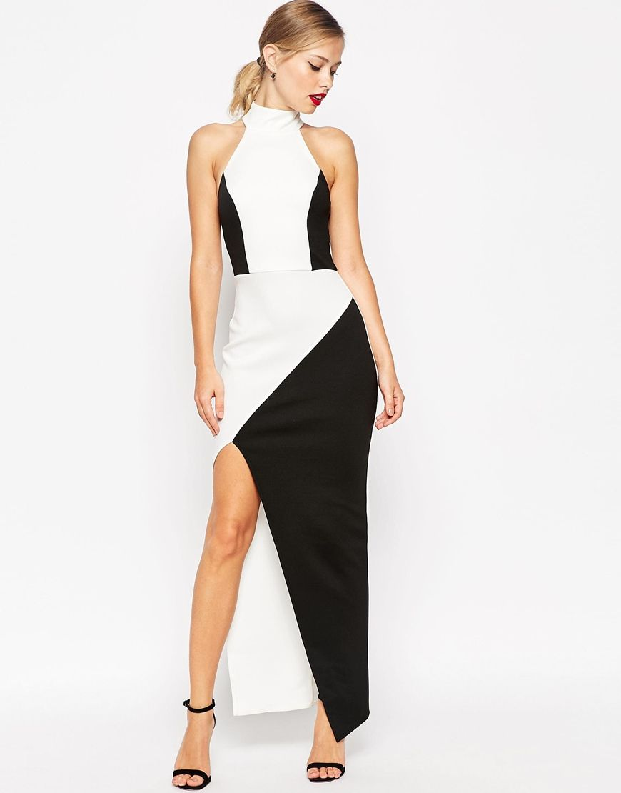 Image 1 of ASOS Mono Halter Asymmetric Maxi Dress | Trending: Black ...