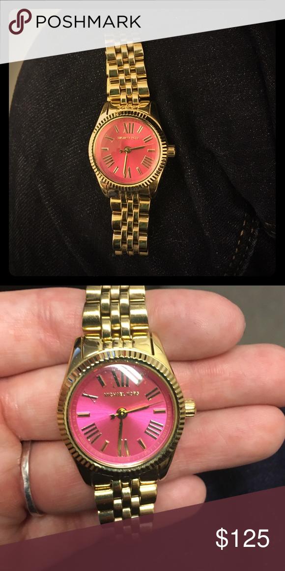 114613ec73da Michael Kors Gold Watch with Pink Face Style-MK3270. Michael Kors Mini  Lexington Watch. Gold link band with hot pink face. Michael Kors  Accessories Watches