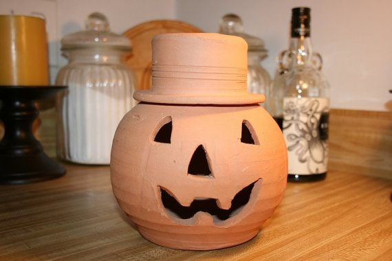 Terracotta Jack O Lantern Pumpkin With Top Hat Halloween On Etsy 15 00 Jack O Lantern Lanterns Trick Or Treater