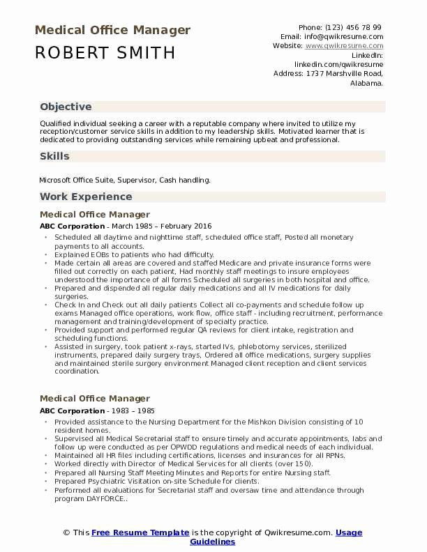 medical office manager resume samples luxury medical fice