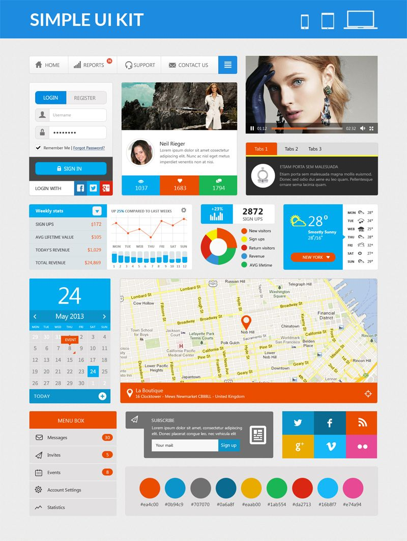 Simple Ui Kit PSD for Web designs - Free PSD Ui Kits for Websites ...