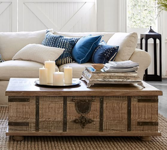 Kaplan Reclaimed Wood Lift Top Trunk Rustic Living Room