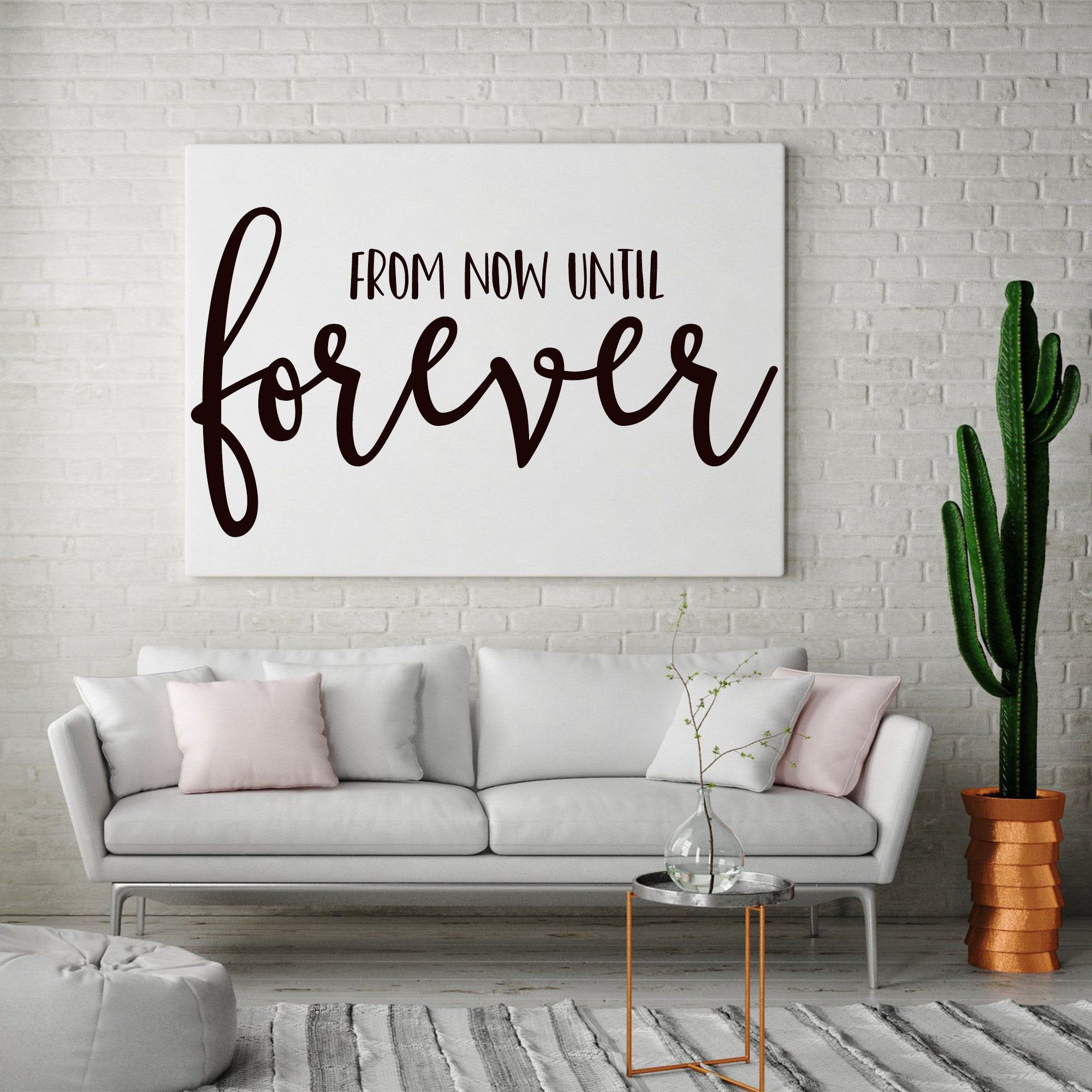 From Now Until Forever Hand Painted Canvas, Bedroom Sign