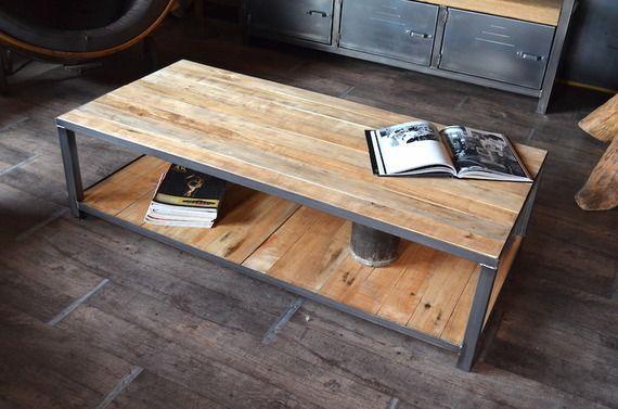 Table Basse Bois De Palette Et Acier Style Industriel Table Basse Bois Table Basse En Bois De Palette Table Basse