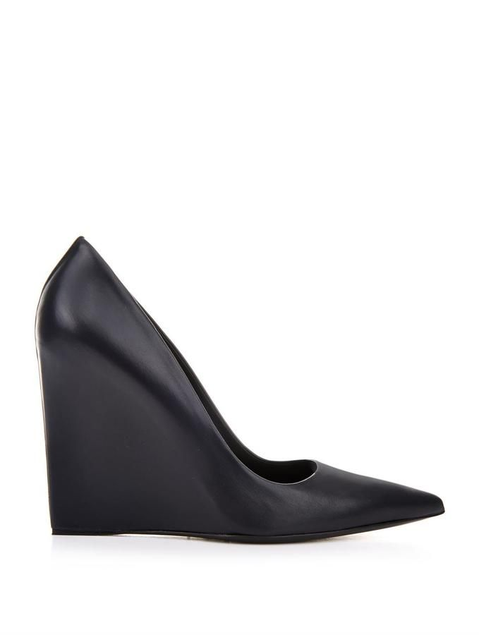 Balenciaga Prism leather wedge pumps  aac183daaf