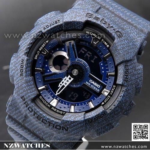 Casio Baby-G Denim Pattern Analogue Digital Limited Sport Watch BA-110DC-2A1, BA110DC