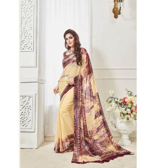 Badge Georgtte Printed Saree