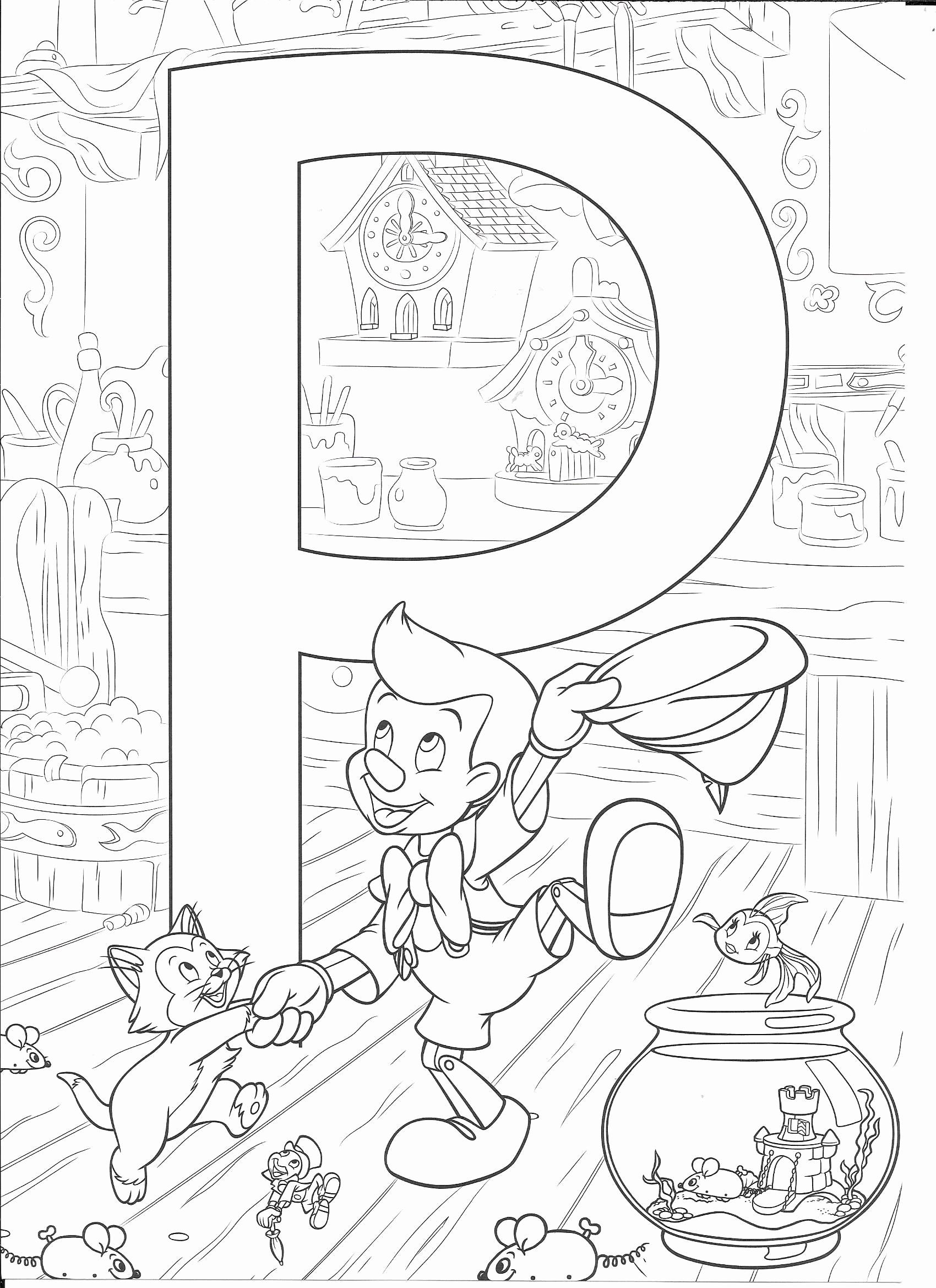 Coloring Book Alphabet J New P For Pinocchio Disney