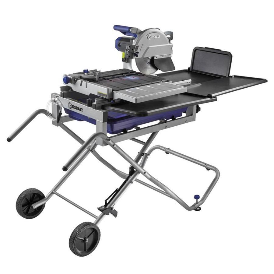 Kobalt 10 In Wet Tabletop Sliding Table Tile Saw With Stand Lowes Com Sliding Table Tile Saw Table Top