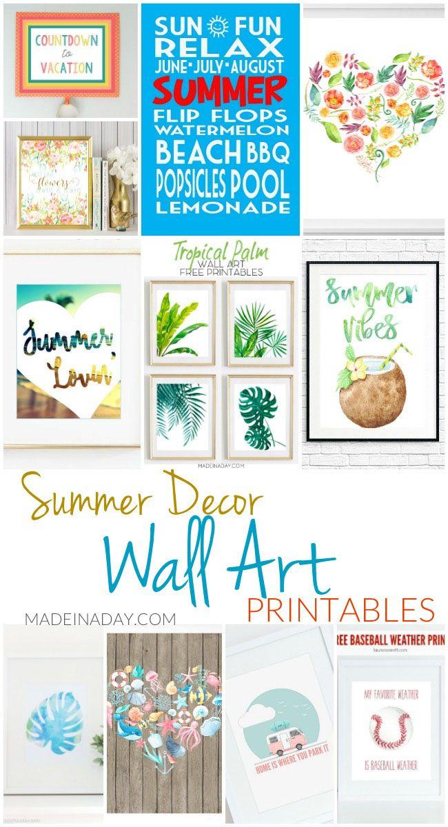 Summer Decor Wall Art Printables Printable Wall Art Free Printable Wall Art Summer Wall Decor