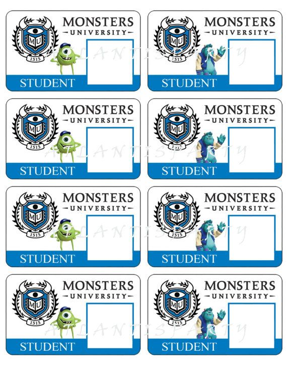MONSTERS University ID Cards Customized - Diy Printable ...
